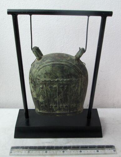 LARGE SIZE Old Karen Hill Tribe Bronze Elephant Bell & Stand 2.3kg