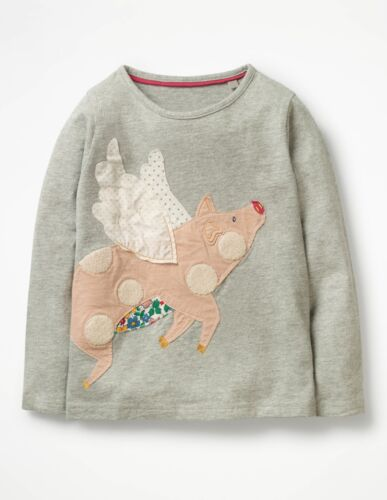 NWT 4/5 5/6 6/7 Mini Boden Gray When Pigs Fly L/S Tee SUPER Cute