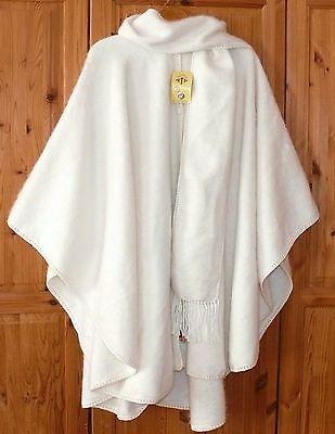 Damen Alpaka Poncho elegant: creme weiss Cape mit Schal, weich leicht warm, Peru online kaufen