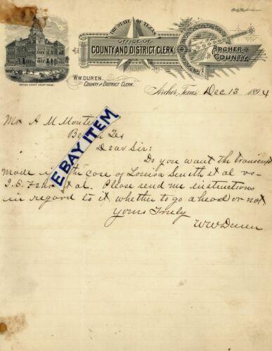 1894 Letterhead ARCHER TEXAS County & District Clerk W. W. DUREN Court House LHD