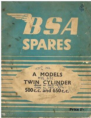 BSA A7 A10 (INCL STAR TWIN SHOOTING STAR ROAD ROCKET ) ORIG.1954 PARTS CATALOGUE