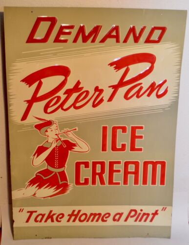 "Vintage 1940s Peter Pan Ice Cream 28"" Metal Litho Sign •  ""Take Home A Pint"""