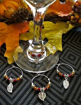 Set of 4 Small Fall Leaves ~ Wine Glass Charms ~ Great Gift Idea Holliday Themed