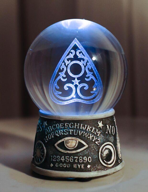 Ebros Wicca Ouija Spirit Board Evil Eye Planchette LED Glass Gazing Ball Statue