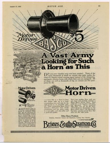 1922 Briggs & Stratton BASCO Ad: Motor Driven Horn - Milwaukee, Wisconsin