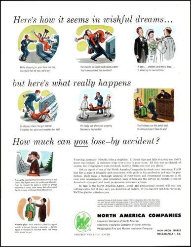 1952 Comic accident art North America companies insurance vintage Print Ad adL34