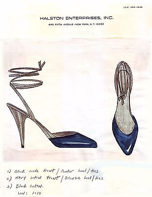 "HALSTON  circa 1983 - 8.5"" x 11"" Original Full Color Shoe Design Illustration"