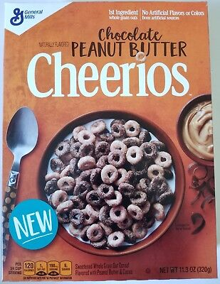 NEW CHOCOLATE PEANUT BUTTER CHEERIOS CEREAL LIMITED EDITION FREE WORLD SHIPPING
