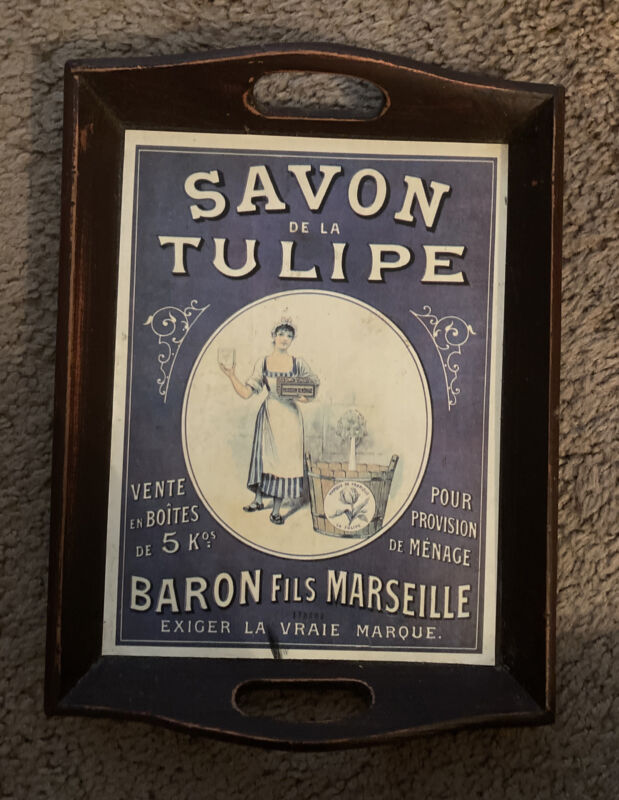 Vtg Wooden Dual Tray French Vintage Soap Ad Decor Handles Wood Genuine Antique