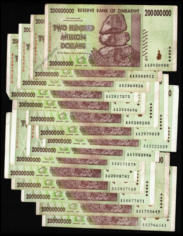 200 Million Zimbabwe Dollars x 15 Banknotes ~ AA 2008 Series Currency 15PCS Lot