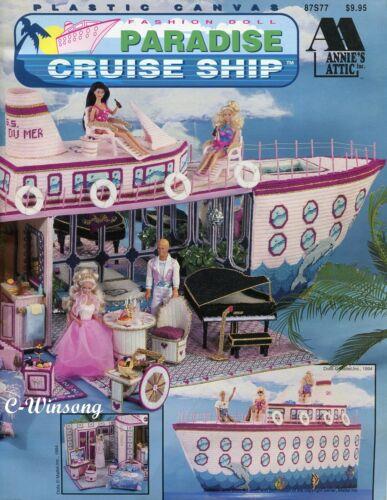 Paradise Cruise Ship fits Barbie fashion dolls, plastic canvas pattern book NEW