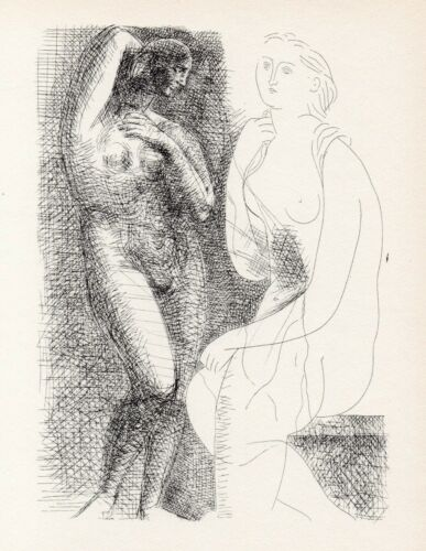 Pablo Picasso, Nude Woman Before a Statue, Vollard Suite