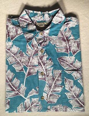 (New Mens Cooke Street Hawaiian Shirt. Turq/Purp/White Leaf Pattern.Multiple Size)