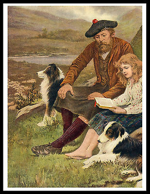 Scottish Border Collie - BORDER COLLIE SCOTTISH SHEPHERD AND DAUGHTER LOVELY OLD STYLE DOG PRINT POSTER