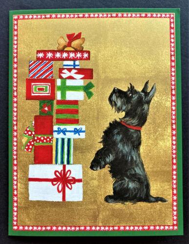 Caspari Christmas Cards SET OF 4 Large Black Scotty Dog Scottish Terrier Foil