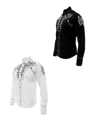 Cowboy Shirt Camisa Vaquera Western Wear El General Long Sleeve White,Black - Gabardine Western Shirt