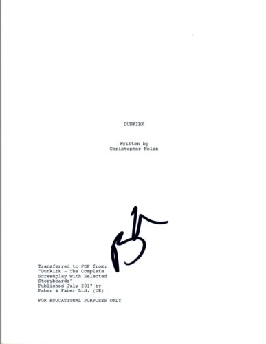 Barry Keoghan Signed Autographed DUNKIRK Full Movie Script COA