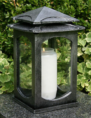 Grablaterne Grablampe Grableuchte Silber Grabschmuck modern inkl Grablicht Kerze