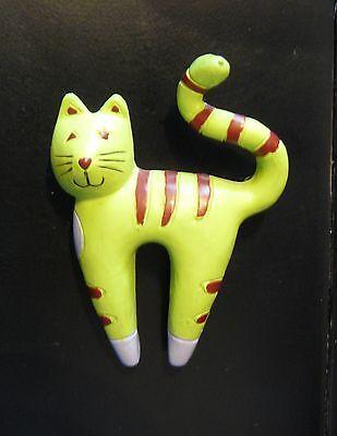 Green Cat Plastic Pin Artsy Unique