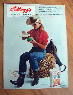 1965 Kellogg's Corn Flakes Ad  Cowgirl    Giddy-up and Go - Giddy Up And Go