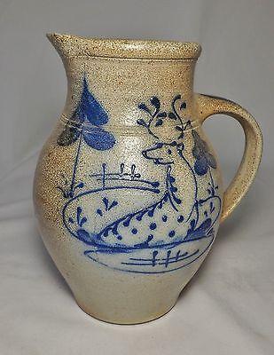 """10"""" -  *Rowe Pottery Works*  Blue Deer PITCHER  marked Ethan Allen - Salt Glazed"""