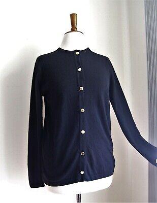 RARE VTG BALLANTYNE Scotland 100% Cashmere BLACK Cardigan SWEATER M/L