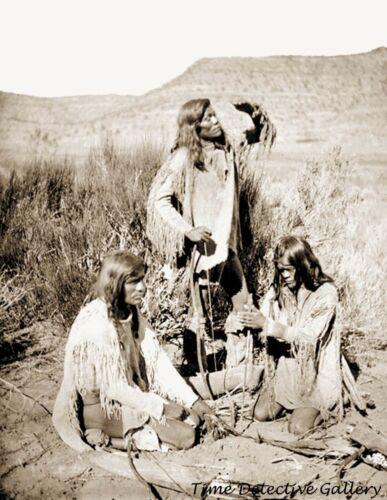 Three Paiute Indian Men Starting a Fire - Historic Photo Print