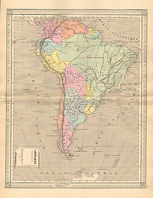 1875 Ca ANTIQUE MAP-CONTINENT OF SOUTH AMERICA