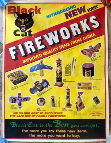 Vintage Black Cat Fireworks Advertising Poster Various Firecrackers