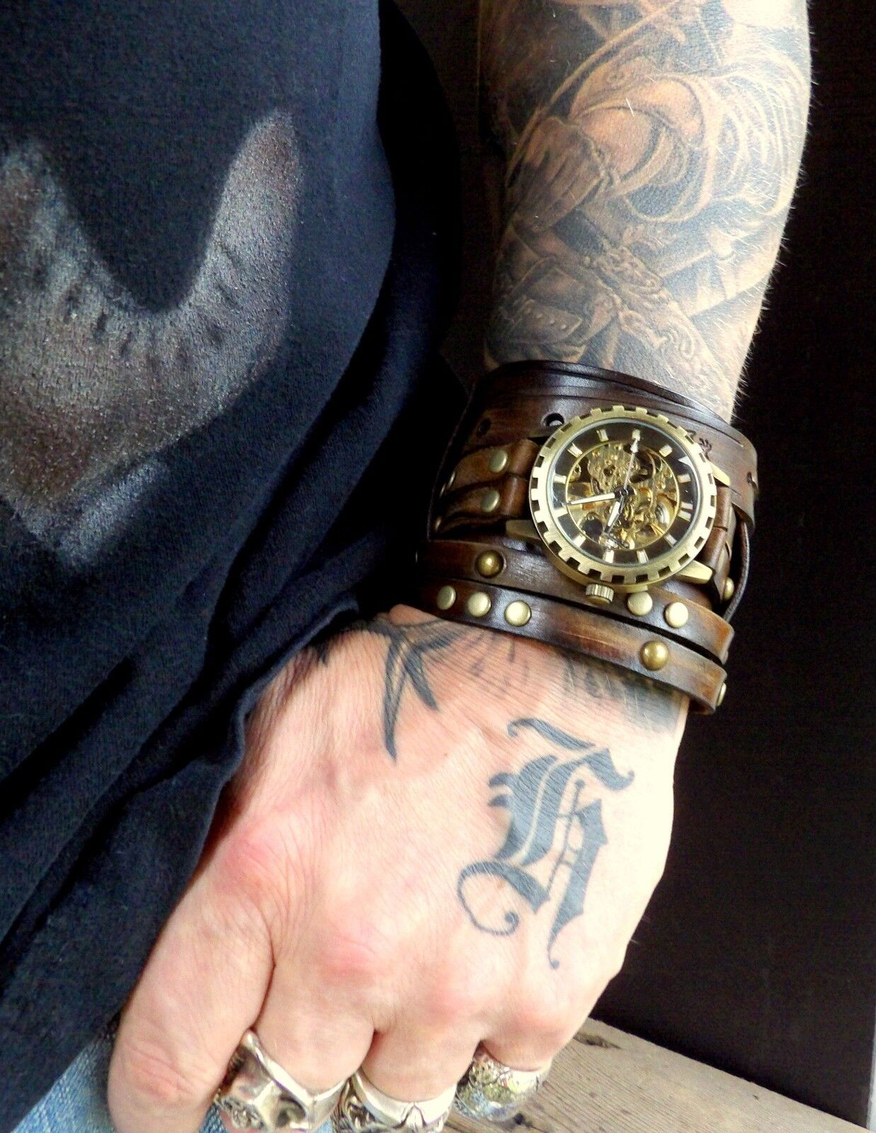 steunk leather s wrist wide leather