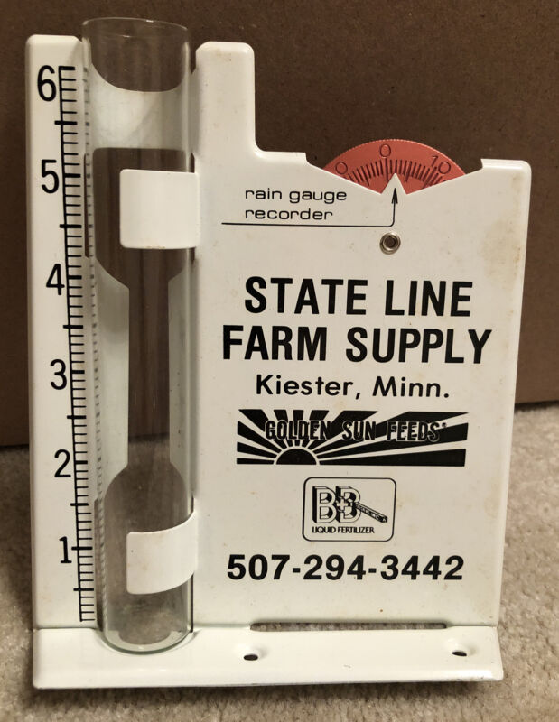 VTG Farm Supply Golden Sun Feeds Kiester MN Advertising Metal Rain Gauge Sign