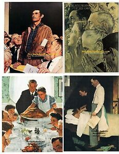 Norman Rockwell FOUR FREEDOMS set Freedom of Worship & Speech, from Want & Fear