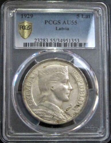 **PCGS AU55** 1929 Latvia 5 Lati, KM#9 - Silver Coin