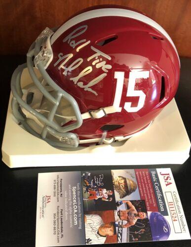 NICK SABAN signed Alabama BAMA mini helmet inscribed Roll Tide Autographed JSA