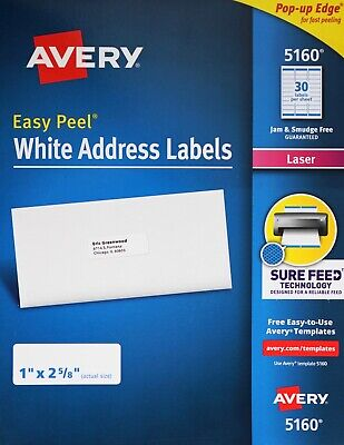 Avery 5160 Easy Peel White Address Labels Laser Printers Pop-up Edge 1 X 2 58