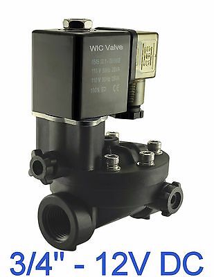 Pa66 Plastic Electric Air Water Solenoid Valve Manual Override 12v Dc 34 Inch