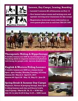 Spring/Summer Horse Riding Lessons, Day Camps & Therapy Riding