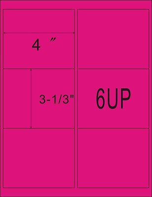 Pink 1200 Shipping Address Amazon Fba 6 Per Sheet 6up 4x3.33 200 Sheets