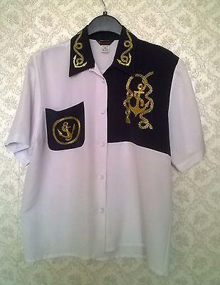 Vintage 90s Marine style White&Blue Blouse Shirt Top Womens Short Sleeve Size 14