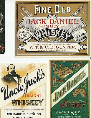 SIX VINTAGE JACK DANIELS WHISKEY LABELS - FREE SHIPPING!