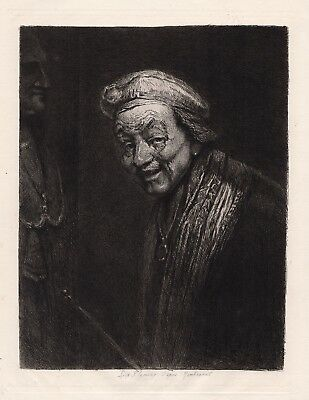 Amazing Rembrandt 1800s Antique Etching OLD LAUGHING REMBRANDT Signed Framed COA