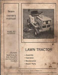 sears lawn tractor service manual