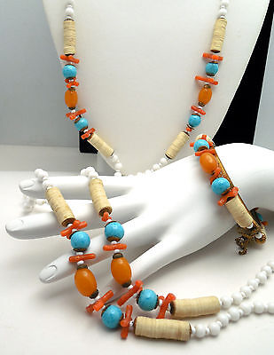 Vintage Miriam Haskell Necklace Bracelet Set Coral Glass Brass Tropical Style on Lookza