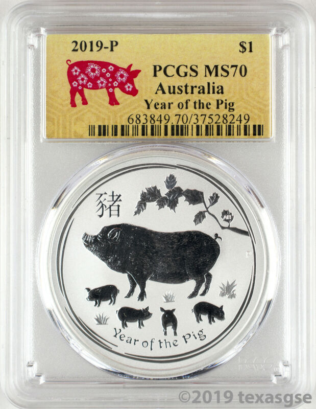 2019-P $1 Australia Year of the Pig 1oz Silver Coin PCGS MS70