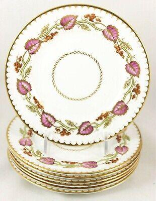 SET s 4 DINNER PLATES ROYAL WORCESTER BONE CHINA JUNE Z502 PINK AQUA BLUE FLORAL Antique Ceramics & Porcelain