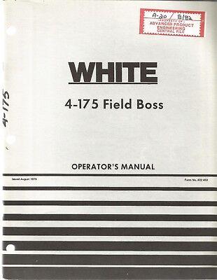 White 4-175 Field Boss Tractor Operators Manual