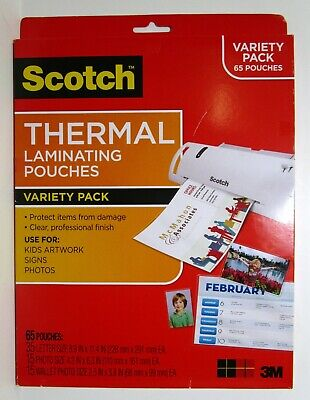 3m Scotch Thermal Laminating 65 Pouches Variety Pack
