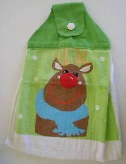 Xmas Hanging Hand Towel: Rudolph:  NEW