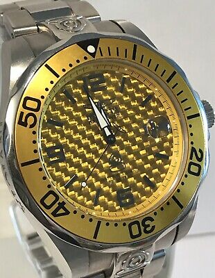 Invicta Mustard /Black Basket Weave Design Dial Grand Diver 47mm Auto Mens Watch