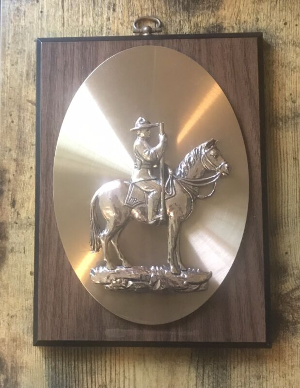 🔥Vintage Brass Cowboy & Horse Wood Plaque / Western Art Decor / Wall Hanging